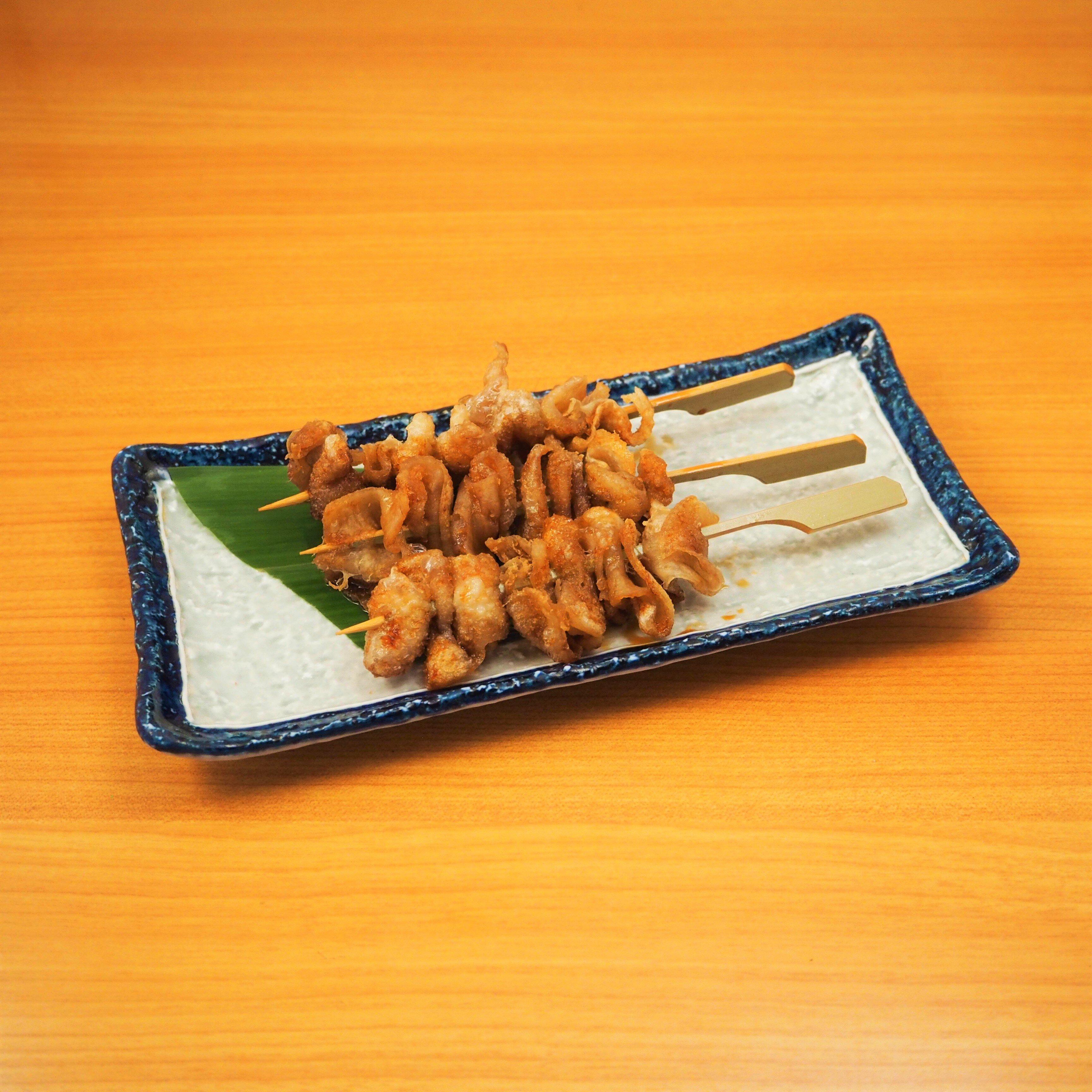 鶏皮パリパリたれ揚げ串(三本)