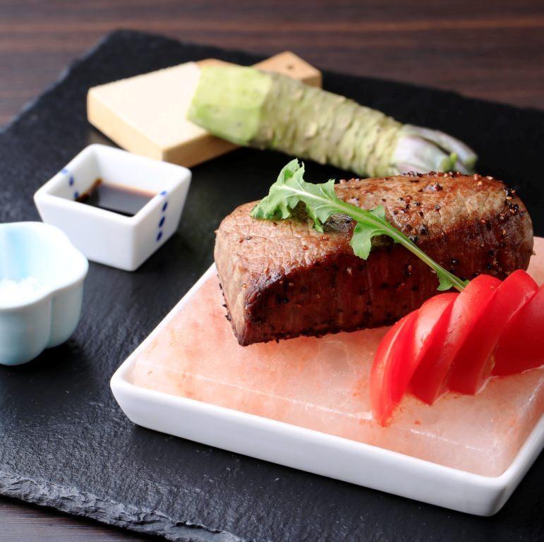 松阪牛 岩塩ステーキ 本生わさびと溜まり醤油