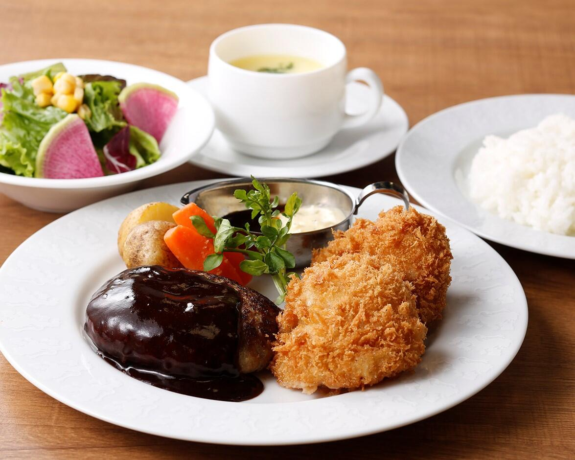 ハンバーグ&ホタテのフライ <ディナーセット>  ライスorパン/サラダ/スープ付き