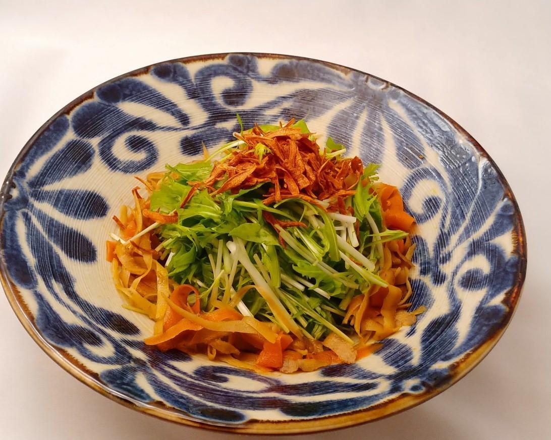 金平と水菜のサラダ