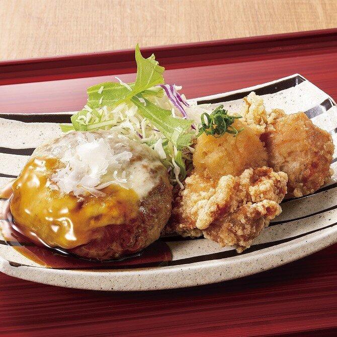 ダブルチーズハンバーグ&鶏唐揚げおろしポン酢