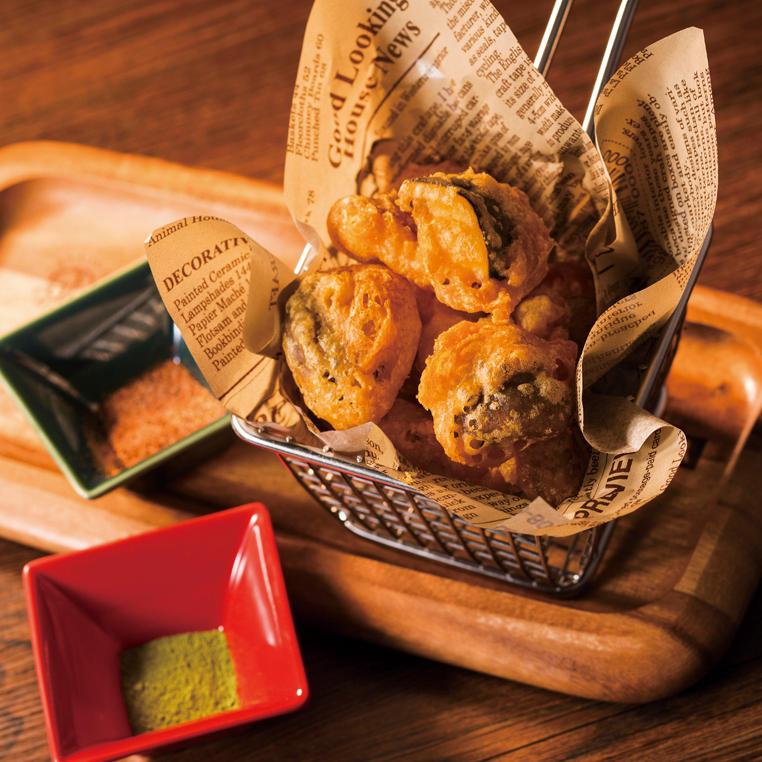 原木椎茸のビヤフリット 抹茶塩添え