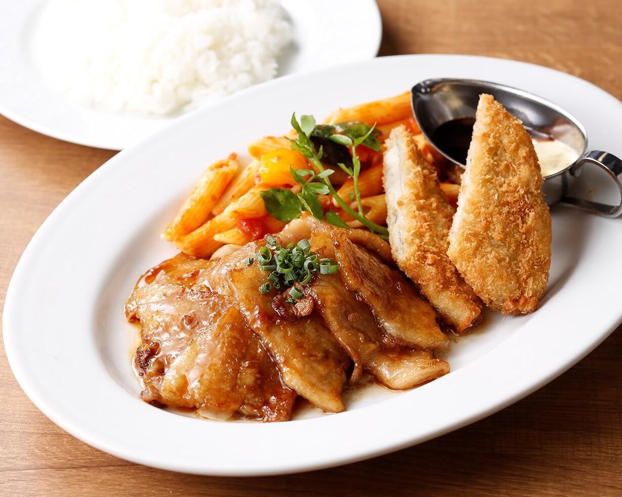 銀座ライオンLEOディナープレート(ポーク生姜焼き&フィッシュフライ)<スープ・サラダセット> サラダ/スープ付き