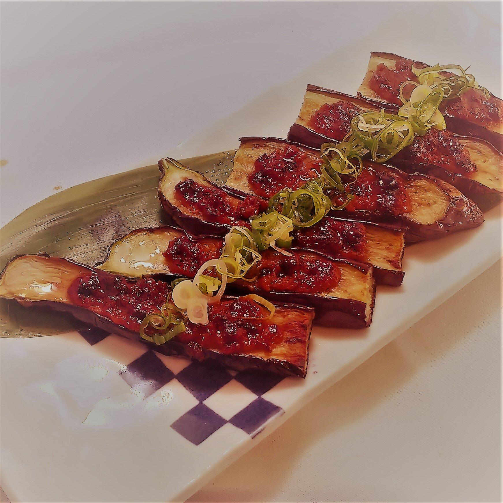 茄子の肉味噌焼き