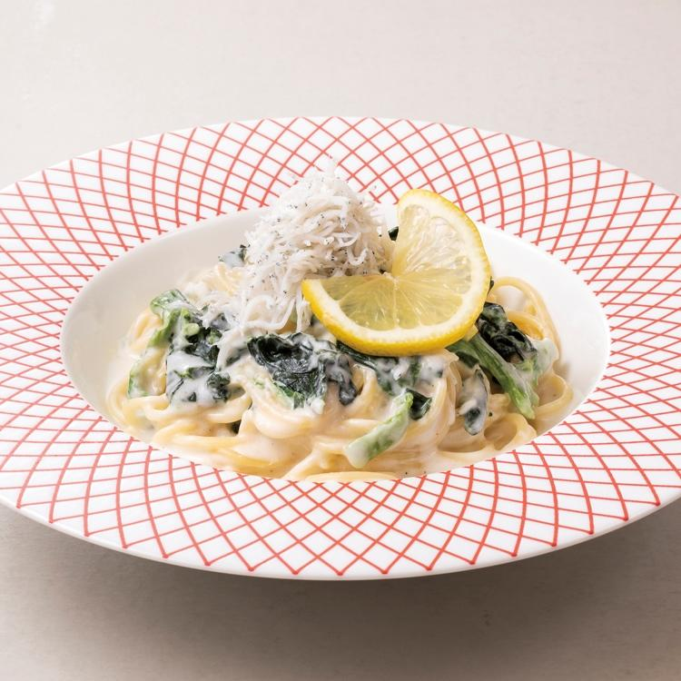 しらすとほうれん草のレモンクリームスパゲティ