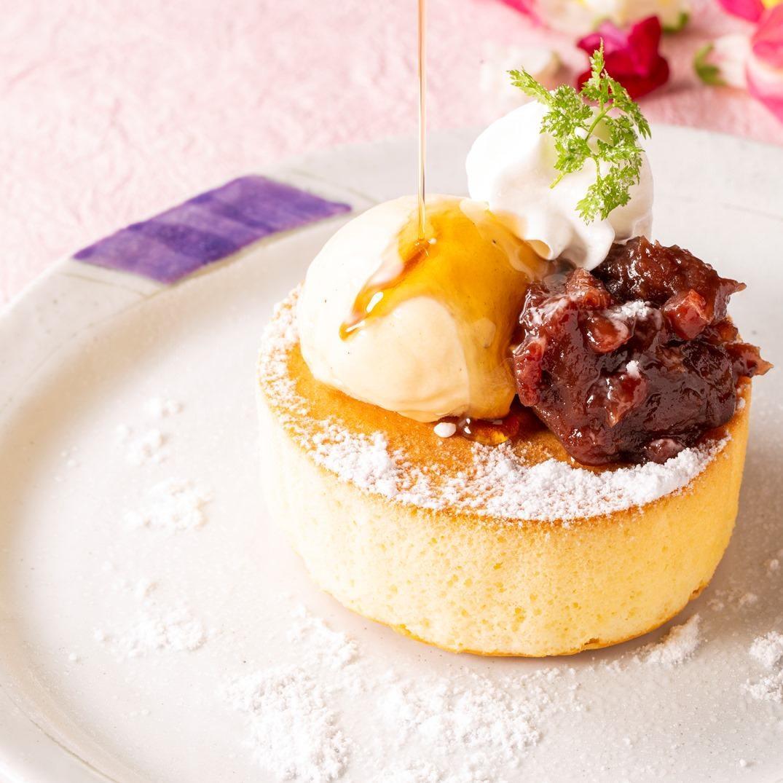 小倉パンケーキとバニラアイス