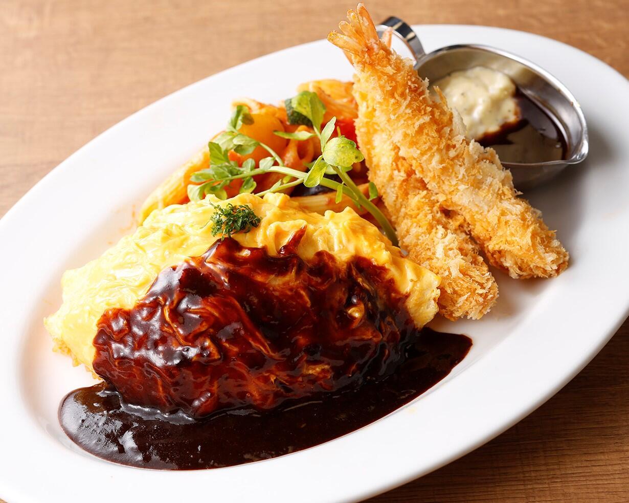 銀座ライオンLEOディナープレート(オムライス&エビフライ)<スープ・サラダセット> サラダ/スープ付き