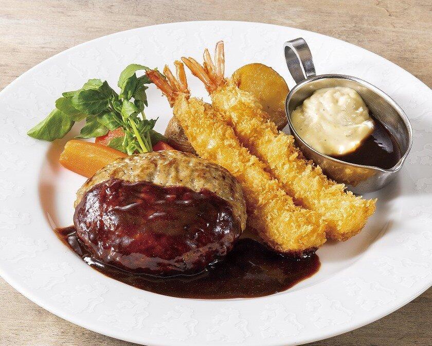 選べるソースのハンバーグ&海老フライ(ライス付き)
