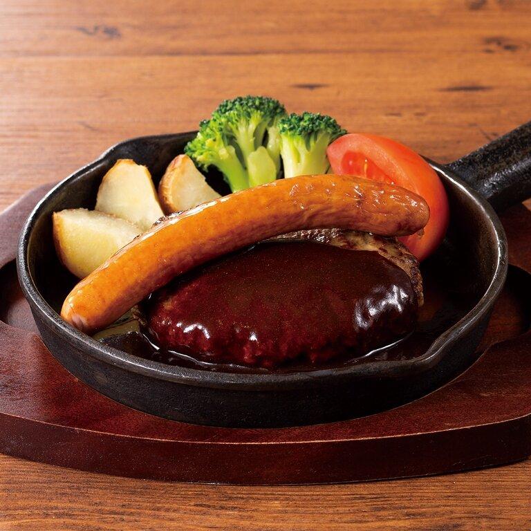 グリルソーセージ ビーフハンバーグ <選べる!>ライス・パン・サラダ
