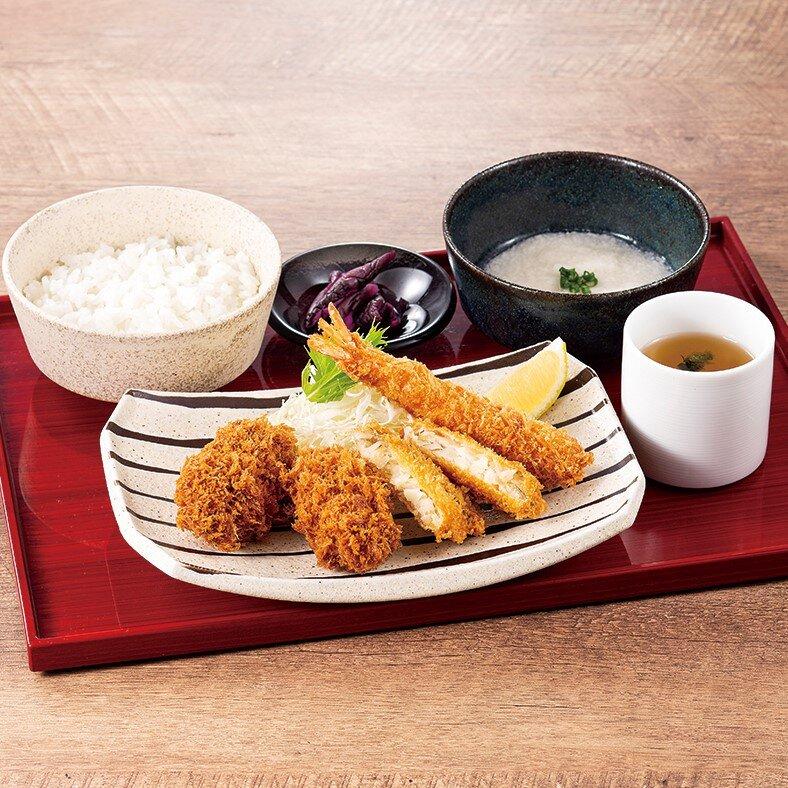 牡蠣・海老・真鯛のフライ御膳