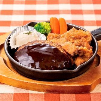 デミグラスハンバーグ&チキン唐揚げ