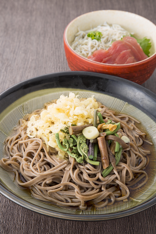 週替りセット マグロ・しらす丼と山菜そば