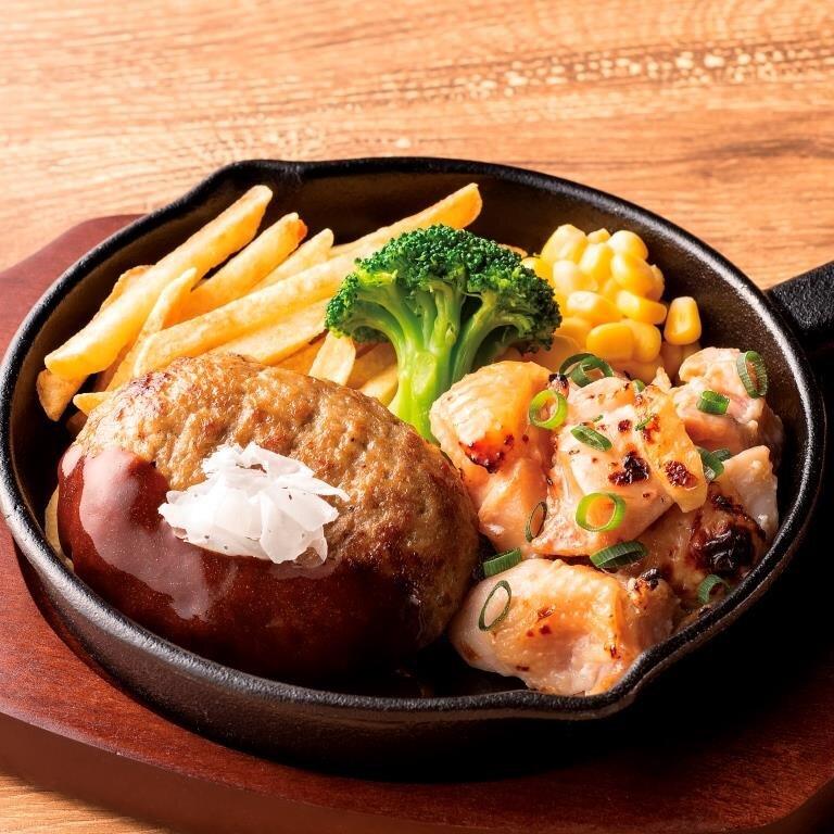 ハンバーグコンボ 鶏肉塩麴焼き<選べる!ライス・パン・サラダ>