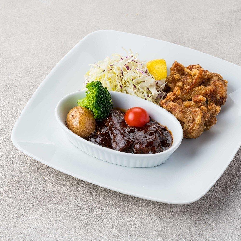 ビーフシチュー&国産鶏の唐揚げランチ