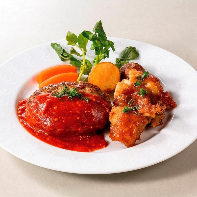 選べるソースのハンバーグ&チキンステーキ  (ライス付き)