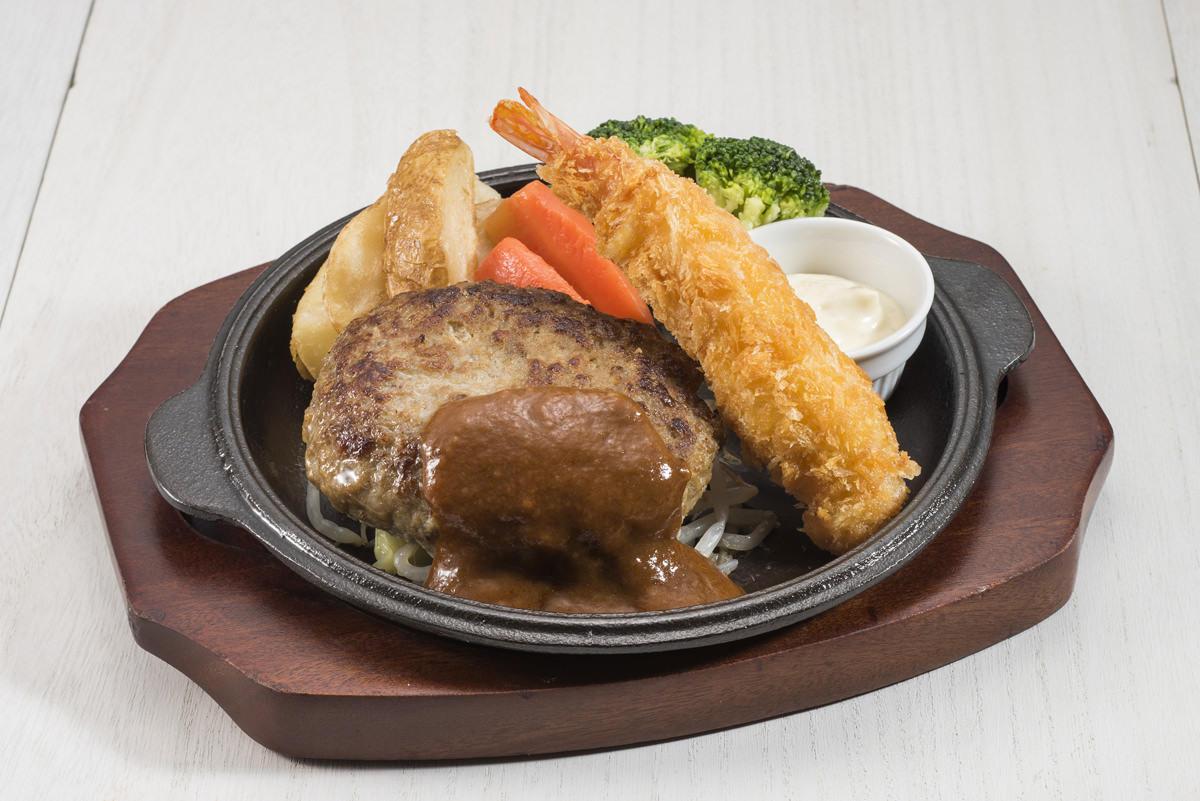 ハンバーグ&エビフライ【ライスorパン付】