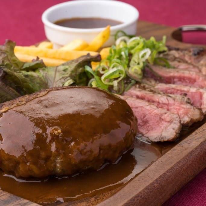 ハンバーグ&サーロインステーキのプレート