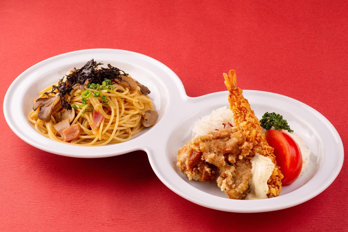 Aプレート ・ベーコンと舞茸の和風スパゲティ・チキン唐揚げ・海老フライ・サラダ