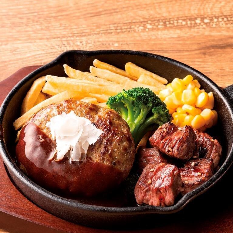 ハンバーグコンボ 牛サイコロステーキ <選べる!ライス・パン・サラダ>