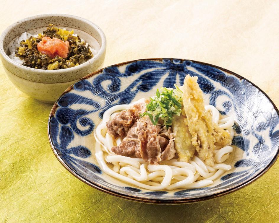 牛肉ごぼう天と高菜明太ご飯